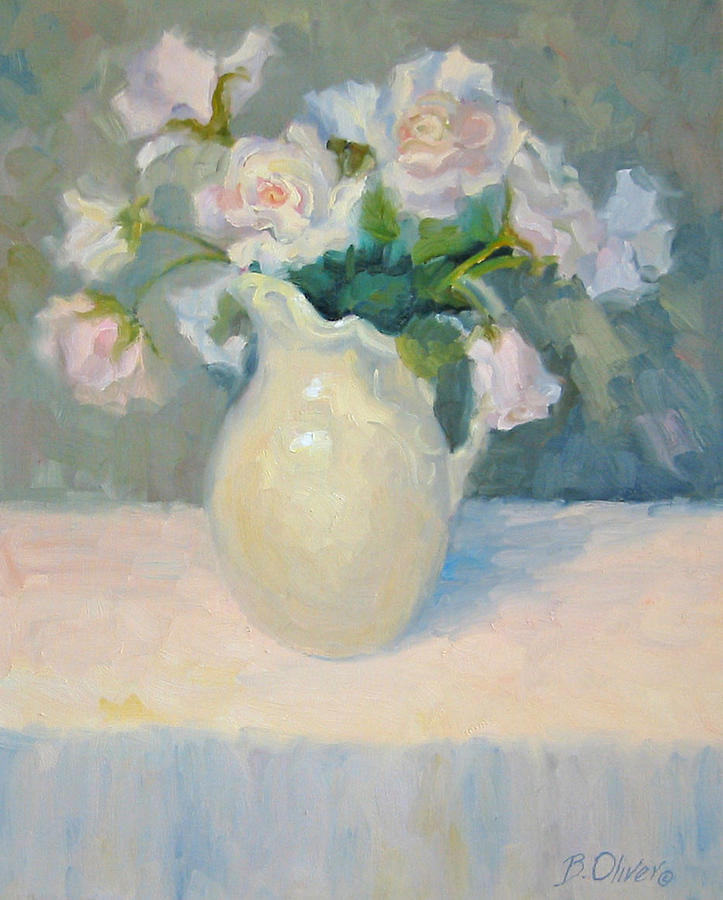 Still Life Painting - Blushing Roses by Bunny Oliver