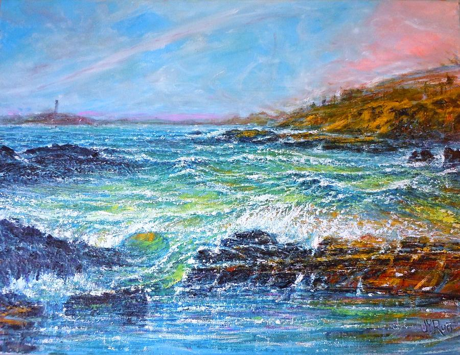 Seascape Painting - Blustery Bay by Joseph   Ruff