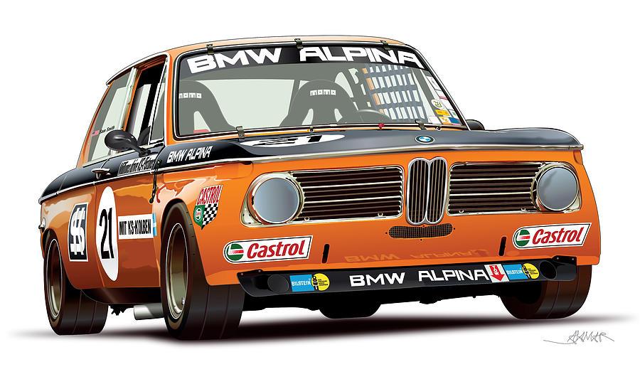 Bmw 2002 Alpina Illustration Digital Art By Alain Jamar