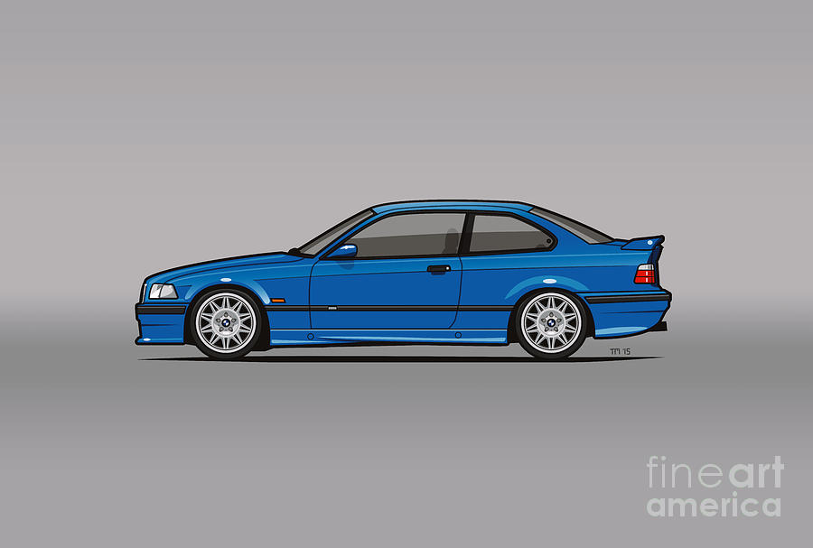 bmw 3 series e36 m3 coupe estoril blue digital art by monkey crisis on mars. Black Bedroom Furniture Sets. Home Design Ideas
