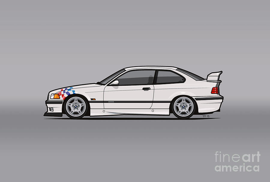 bmw 3 series e36 m3 coupe lightweight white with checkered flag digital art by monkey chrisis on. Black Bedroom Furniture Sets. Home Design Ideas