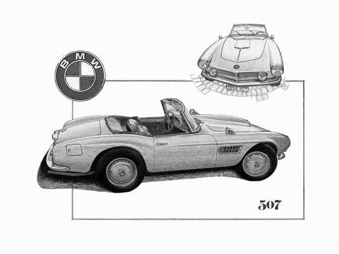 Bmw 507 Black And White Sketch Drawing by Mike  Goebel