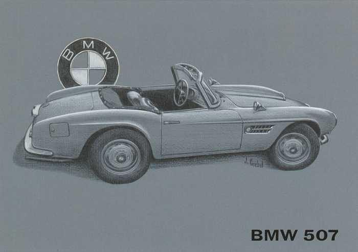 Bmw 507 Color Drawing by Mike  Goebel