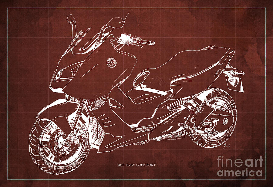 Bmw c600 sport 2013 blueprint red and white art print drawing by bmw c600 drawing bmw c600 sport 2013 blueprint red and white art print by pablo malvernweather Choice Image