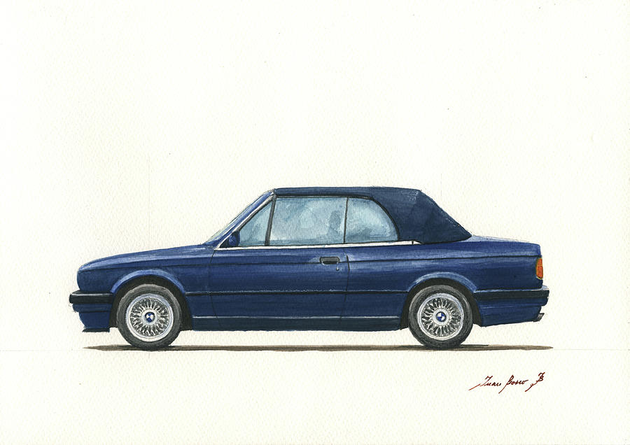 Classic Bmw Painting - Bmw E30 Cabrio by Juan Bosco