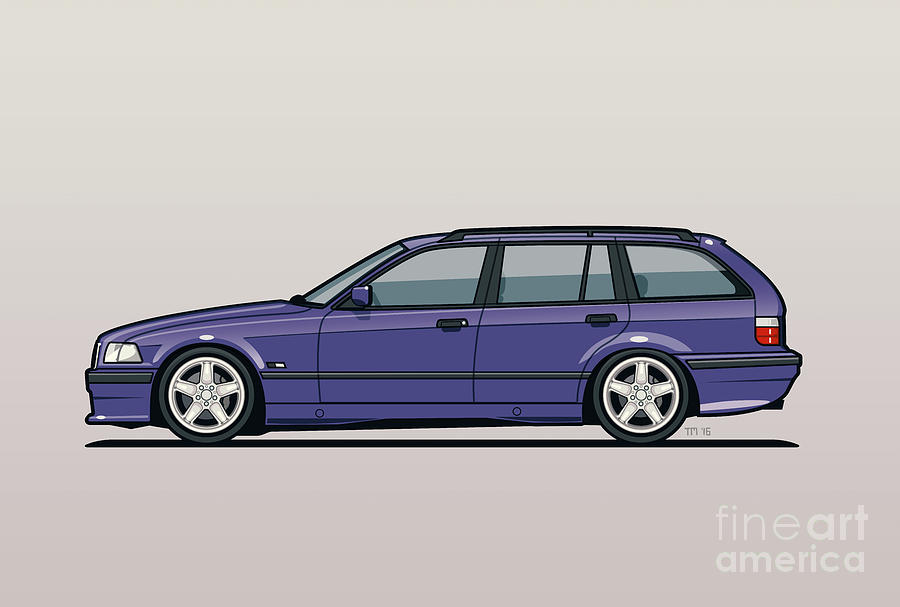 bmw e36 328i 3 series touring wagon techno violet digital art by monkey crisis on mars. Black Bedroom Furniture Sets. Home Design Ideas