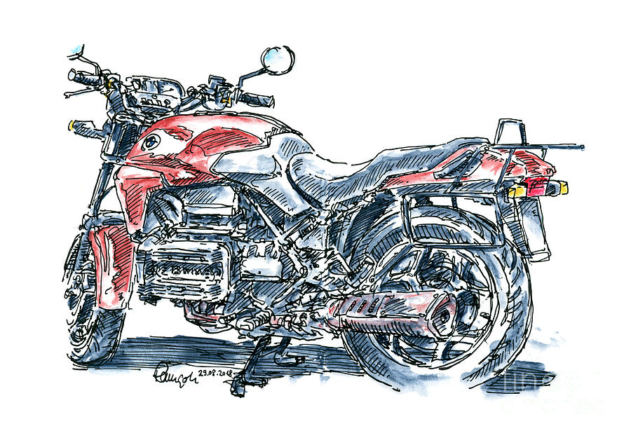 Motorbike Drawing - BMW K 75 Vintage Motorcycle Ink Drawing and Watercolor by Frank Ramspott