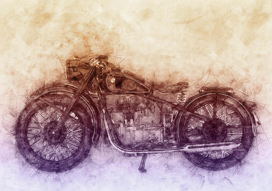 Bmw R32 - 1919 - Motorcycle Poster  2 - Automotive Art Mixed Media