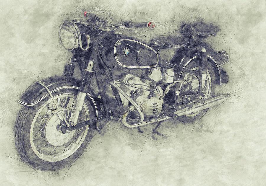 Bmw R60/2 - 1956 - Bmw Motorcycles 1 - Vintage Motorcycle Poster - Automotive Art Mixed Media