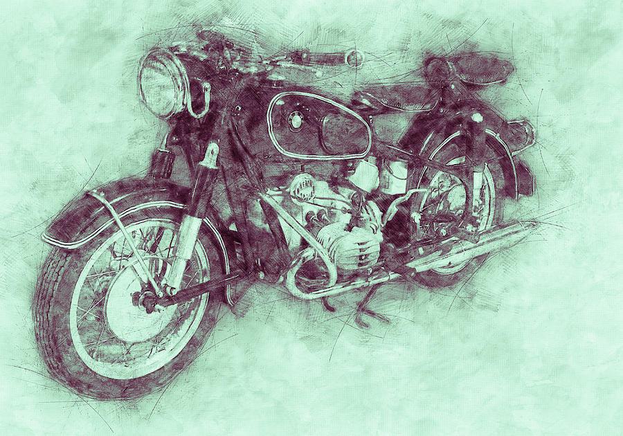 Bmw R60/2 - 1956 - Bmw Motorcycles 3 - Vintage Motorcycle Poster - Automotive Art Mixed Media