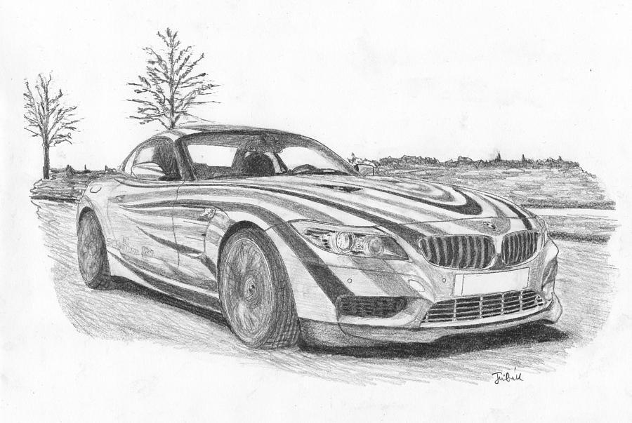 Bmw Sport Car Drawing By Kokas Art