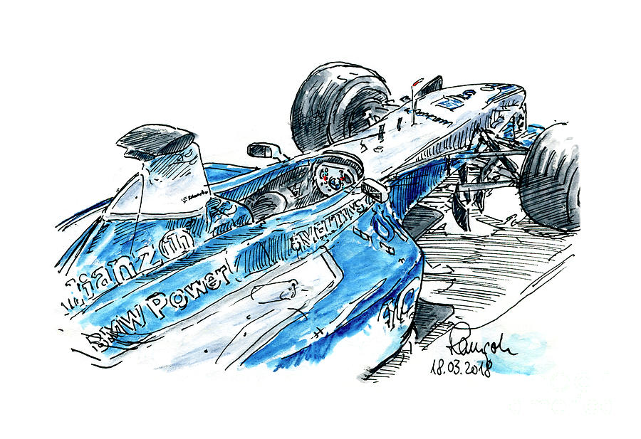 Bmw Williams Fw 23 05 F1 Racecar Ink Drawing And Watercolor Drawing By Frank Ramspott