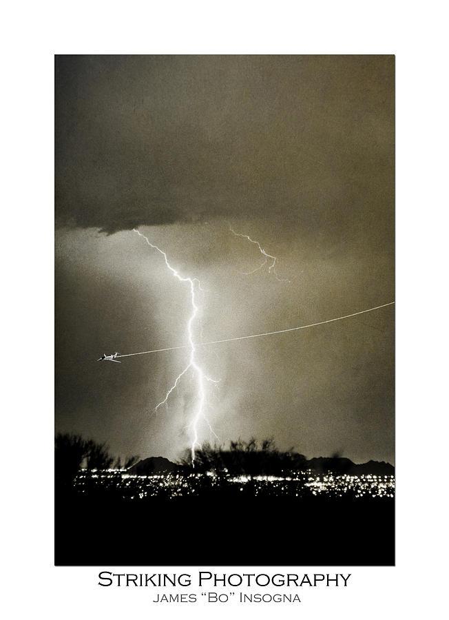 Lightning Photograph - Bo Trek Lightning Bw Fine Art Poster Print by James BO  Insogna