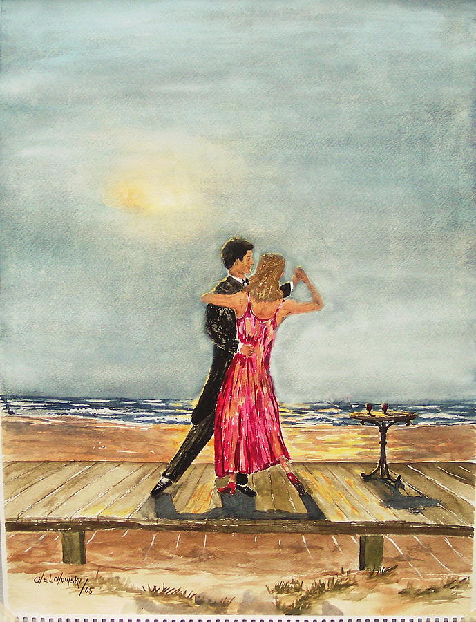 Boardwalk Dancers Painting by Miroslaw  Chelchowski