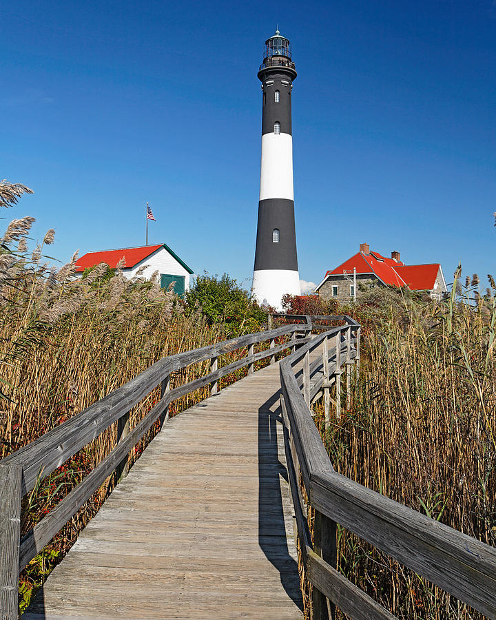 Fire Island: Boardwalk In A Marsh Fire Island Lighthouse Photograph By