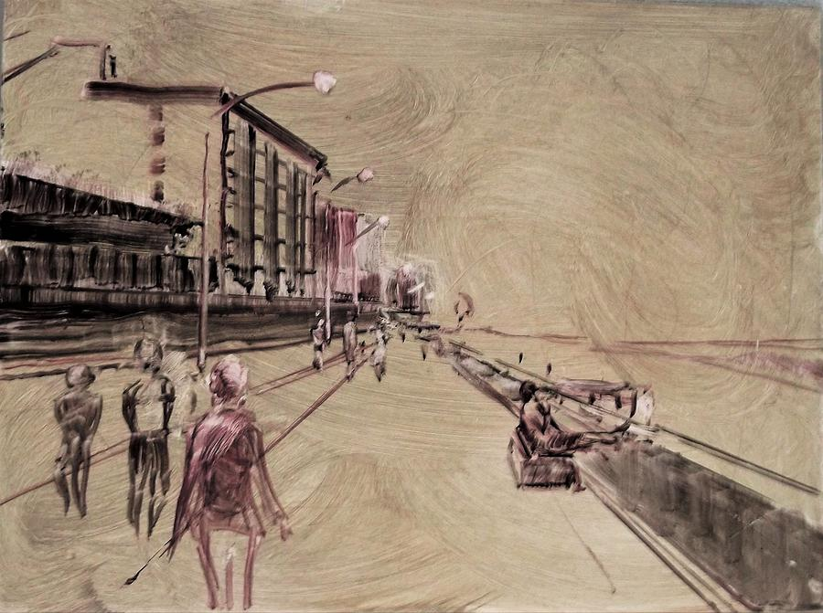 Boardwalk Oil Sketch by Beverly Klucher