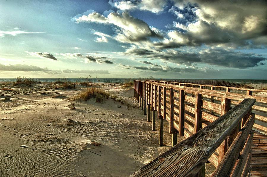 Pelican Digital Art - Boardwalk On The Beach by Michael Thomas