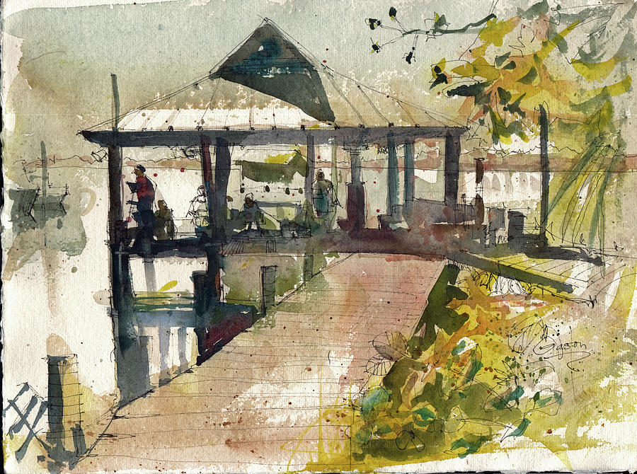 Boardwalk Painting - Boardwalk Sarasota Ink And Wash by Gaston McKenzie