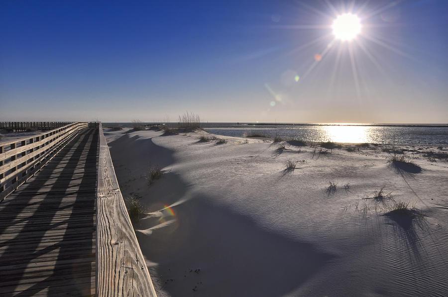 Boardwalk Photograph - Boardwalk To The Gulf by Gej Jones