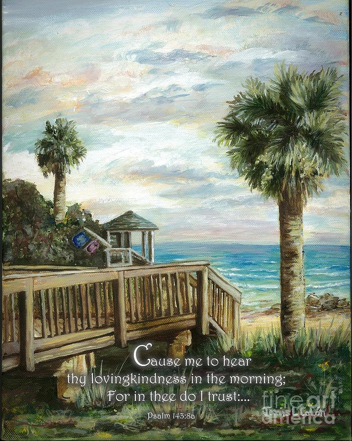 Ocean Digital Art - Boardwalk With Lifeguard Psalm 143 by Janis Lee Colon