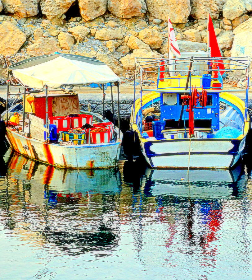 Boats Photograph - Happy And Colorful Boats In Their Own Company  by Hilde Widerberg
