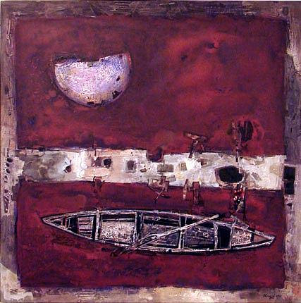 Boat And Moon Painting by Golam Faruque  Bebul
