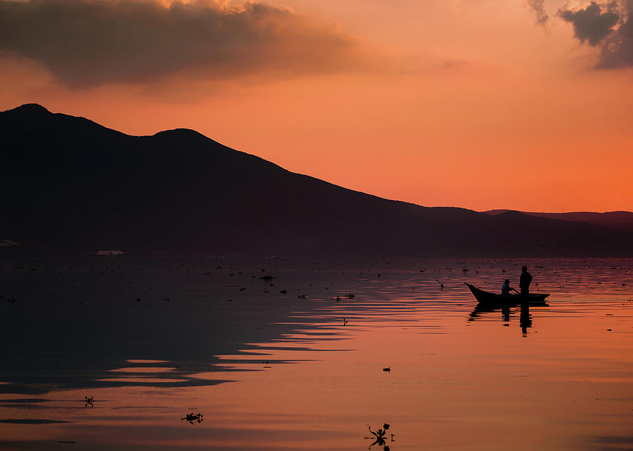 Lake Photograph - Boat and Mt. Garcia, Lake Chapala, Mexico by Dane Strom