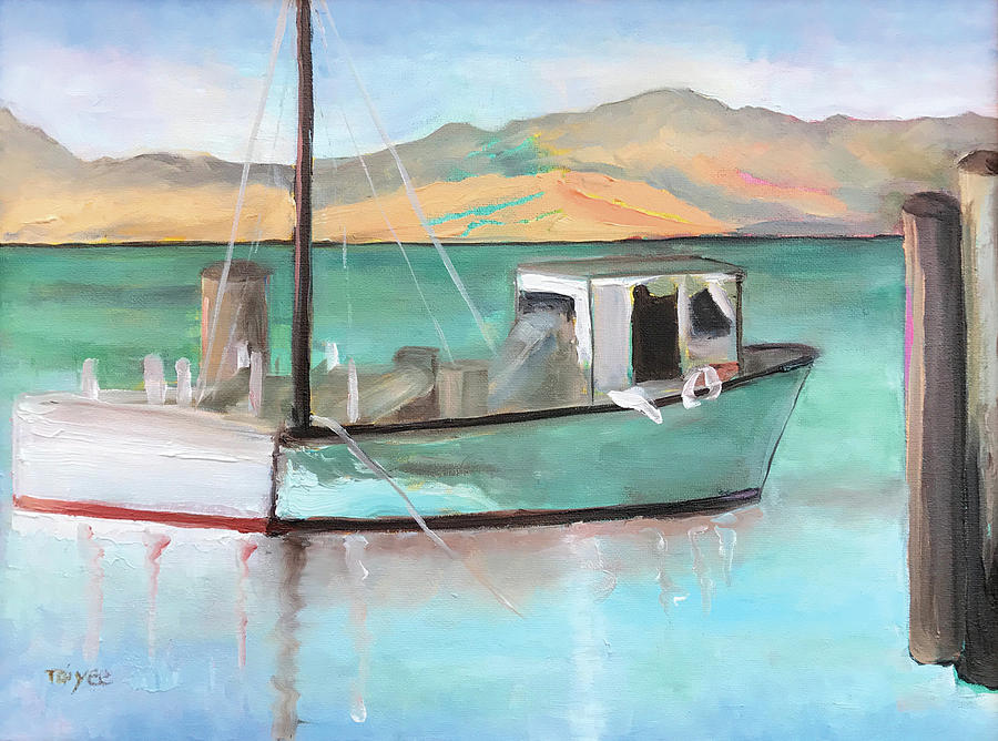 Boat Painting - Boat At China Camp State Park by Tai Yee