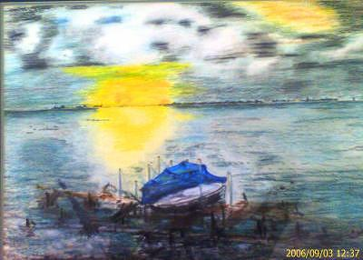 Boat At Sunset Painting by Christopher Green