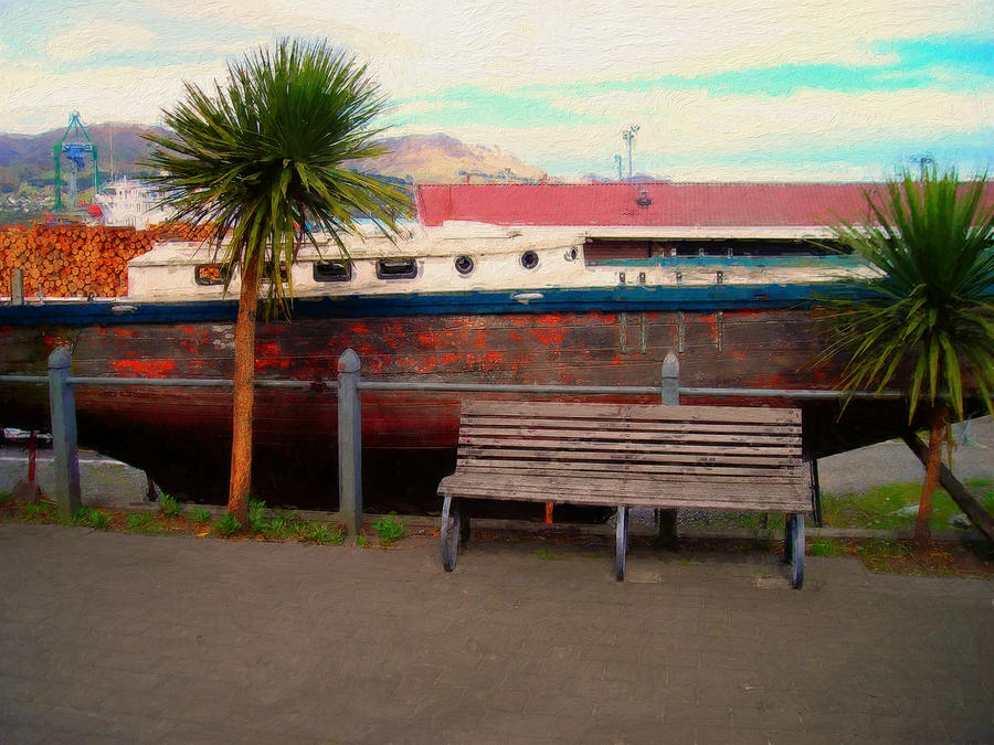 Boat Digital Art - Boat Bench Tree by Sam Barrow