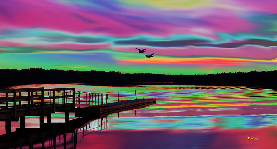 Water Digital Art - Boat Dock by Gregory Murray