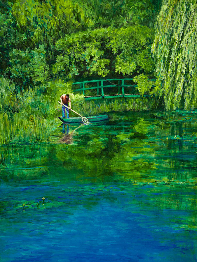 acrylic painting painting boat gardener at monets water lily pond by lynne albright