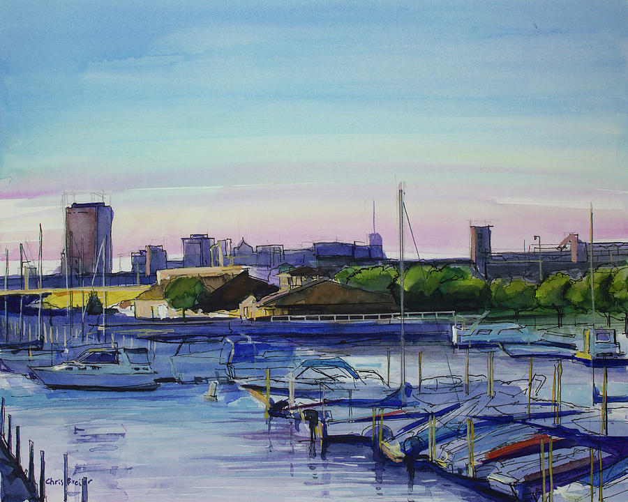 Buffalo Painting - Boat Harbor At Dusk by Chris Breier