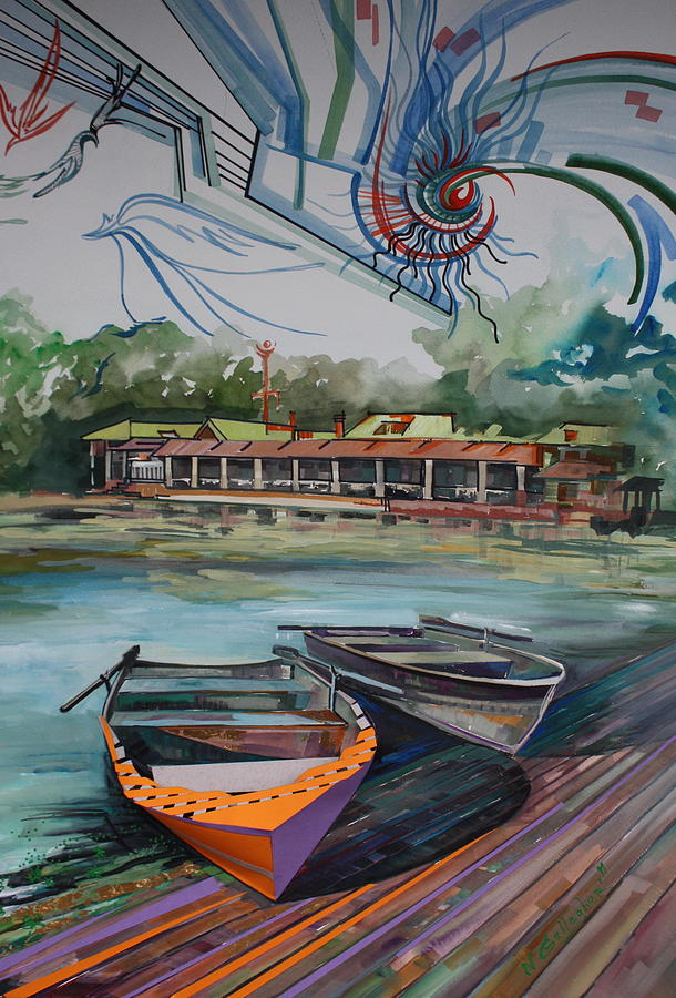 Boat House In Central Park Painting by Nadia Gallagher
