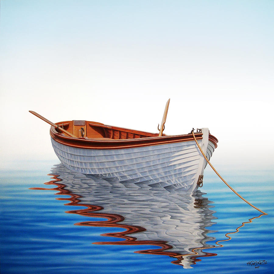 Boat Painting - Boat In A Serene Sea by Horacio Cardozo