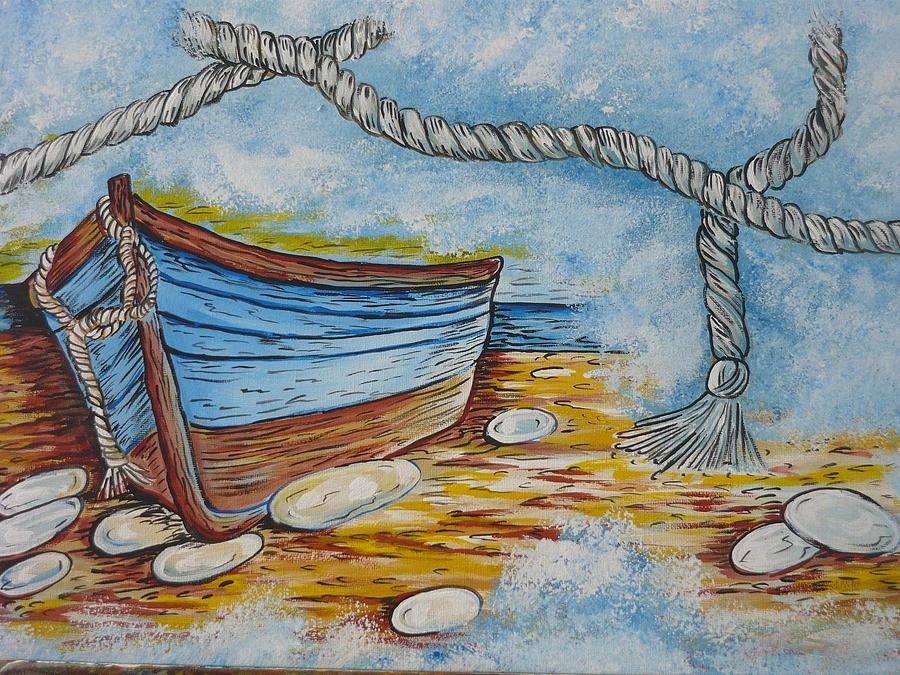 Boat Painting - Boat In Fog by Anna Dionia