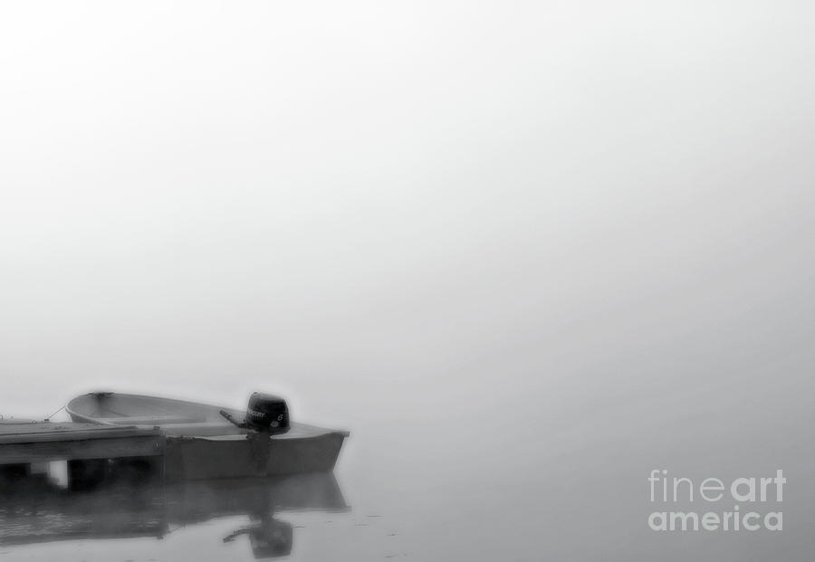 Rowboat Photograph - Boat In Fog On Lake Black And White by Randy Steele