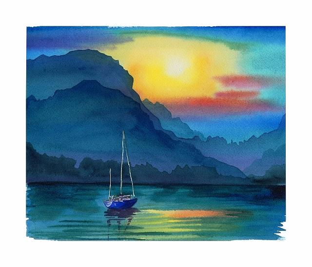 Landscape Painting - Boat In Sunset by Elena Mahoney