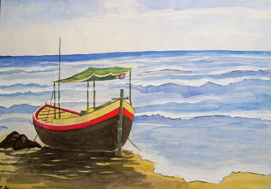 Boat Painting - Boat In The Harbour by Santosh Pagare