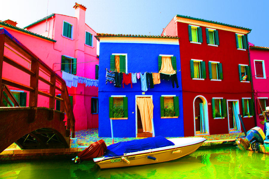 Burano Pastel - Boat Matching House by Donna Corless