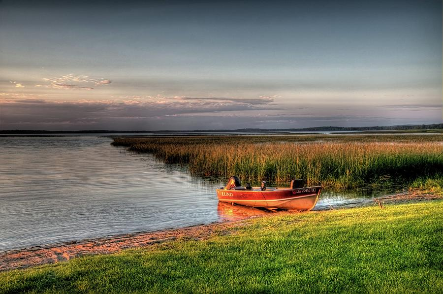 Boat Photograph - Boat On A Minnesota Lake by Dave Rennie
