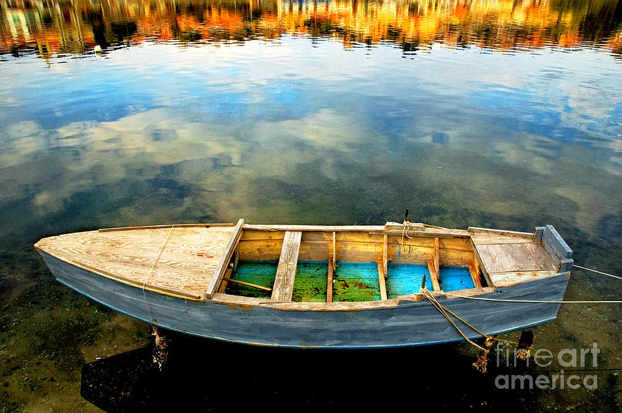 Boat Photograph - Boat On Lake by Silvia Ganora