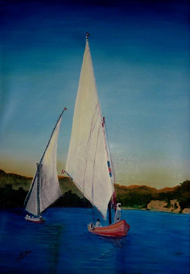 Boat On Nile River Painting By Zak Eissa
