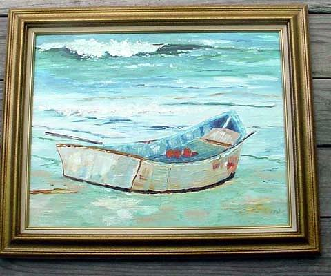 Blue Painting - Boat On The  Beach by Margaret Carson