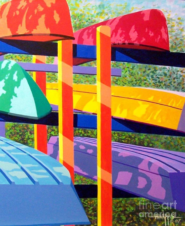 Sunlight Painting - Boat Rack by Hugh Harris