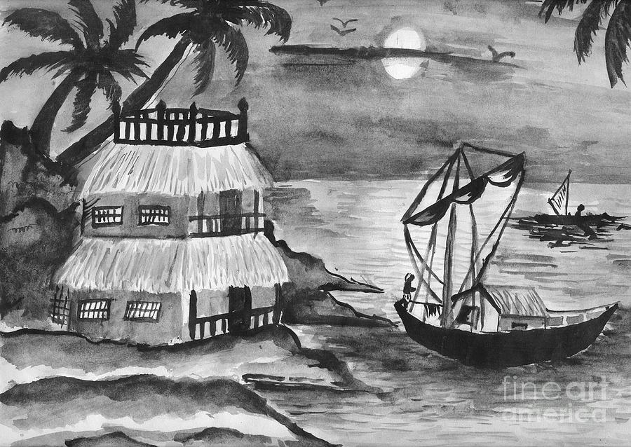 Nature Painting - Boat Sailing In Moon Light by Tanmay Singh