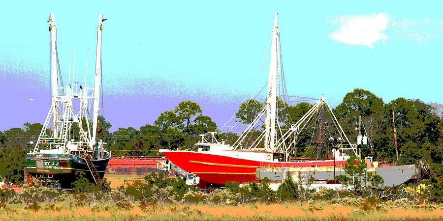 Boats Photograph - Boat Series 8 Shipyard Bayou La Batre by Paul Gaj