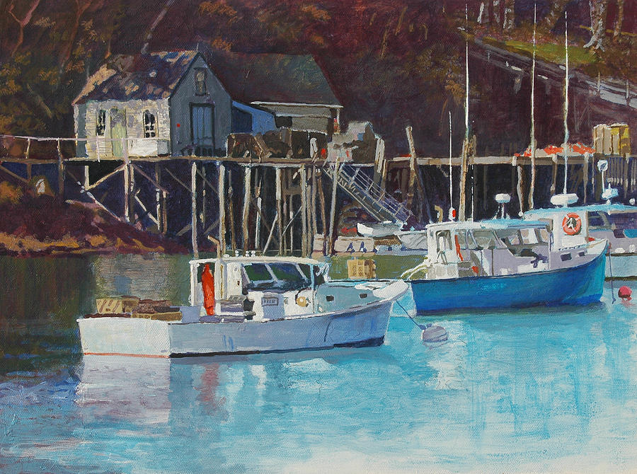 Maine Painting - Boat Shack by Robert Bissett