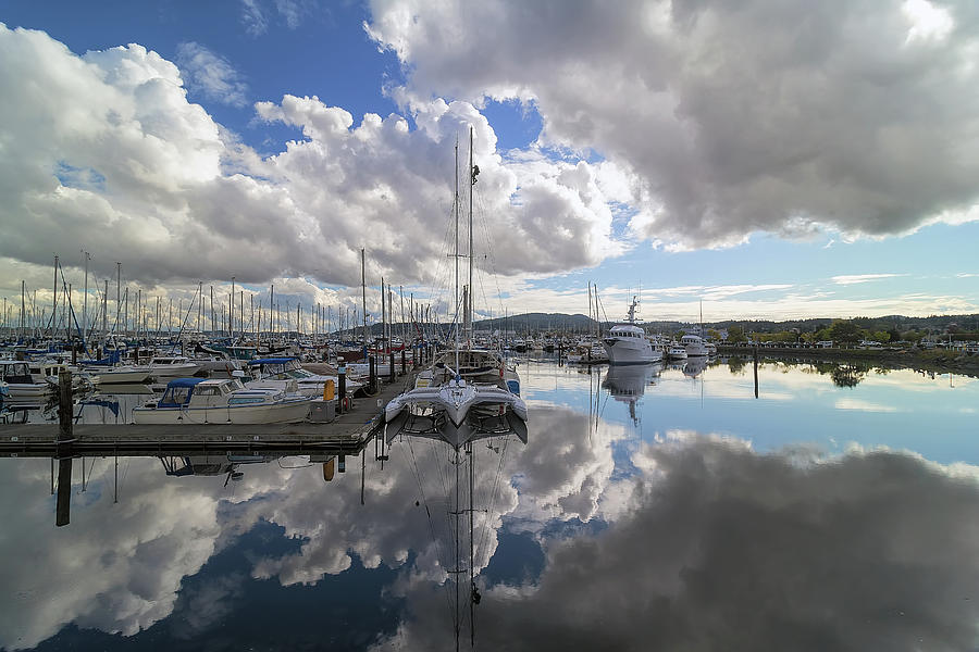 Port Photograph - Boat Slips At Anacortes Cap Sante Marina In Washington State by David Gn
