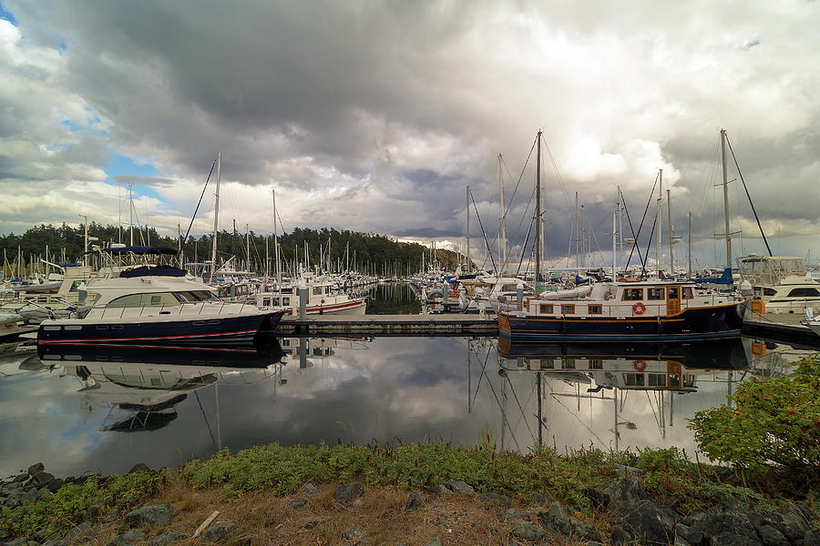 Port Photograph - Boat Slips at Anacortes Marina in Washington State by David Gn
